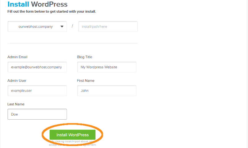 step 4 install wordpress