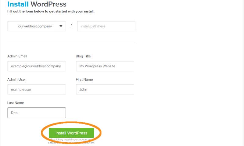 step 4 install wordpress